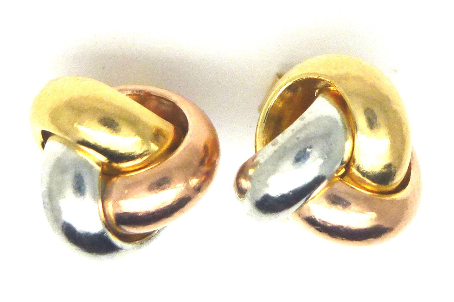 96b9f26a8 9ct Three Colour Gold Three Way Knot Stud Earrings 6249 - 121691944487